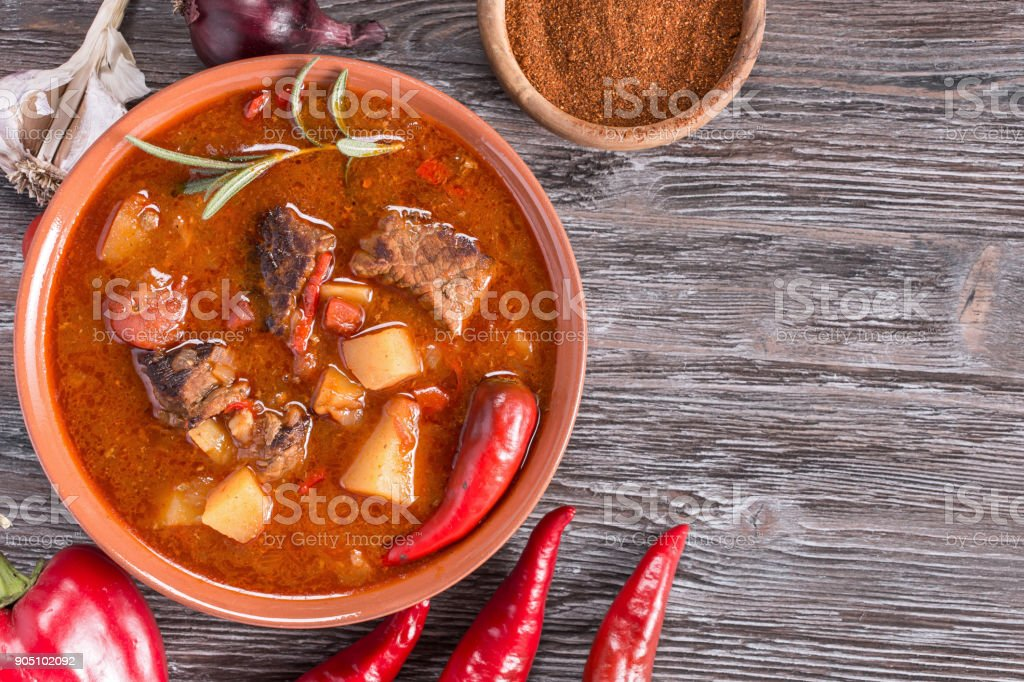 Hungarian goulash top stock photo