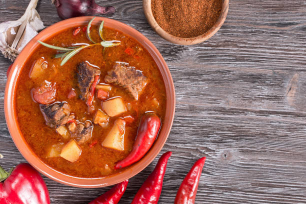 Hungarian goulash top Goulash on rustic wooden  background. Traditional hungarian meal,  beef stew. Copy space goulash stock pictures, royalty-free photos & images