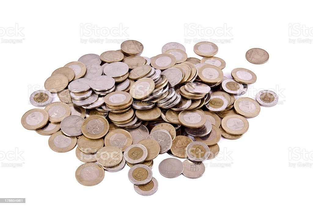 Hungarian isolated coins royalty-free stock photo