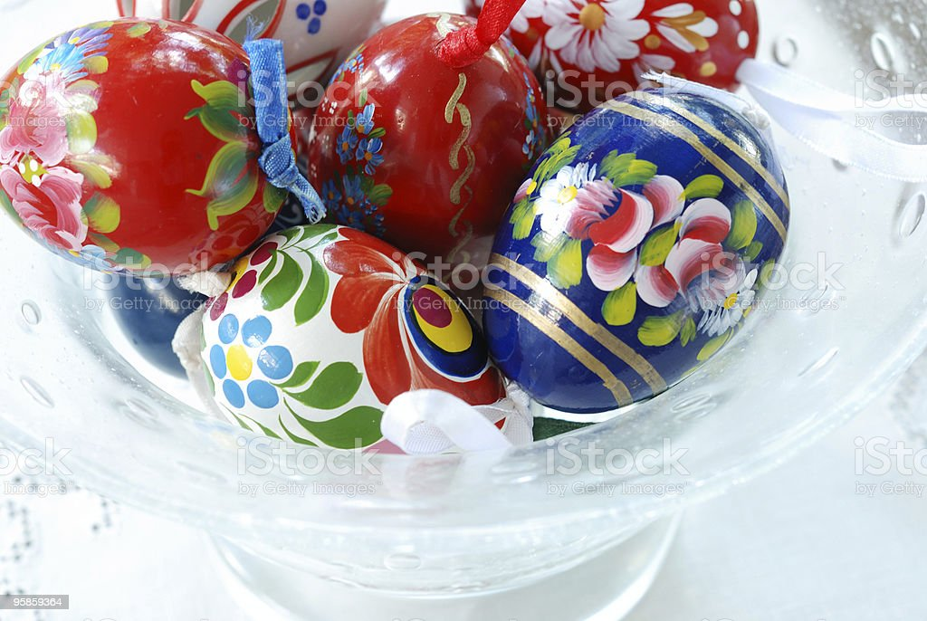 Hungarian Painted Wooden Folk Art Eggs royalty-free stock photo