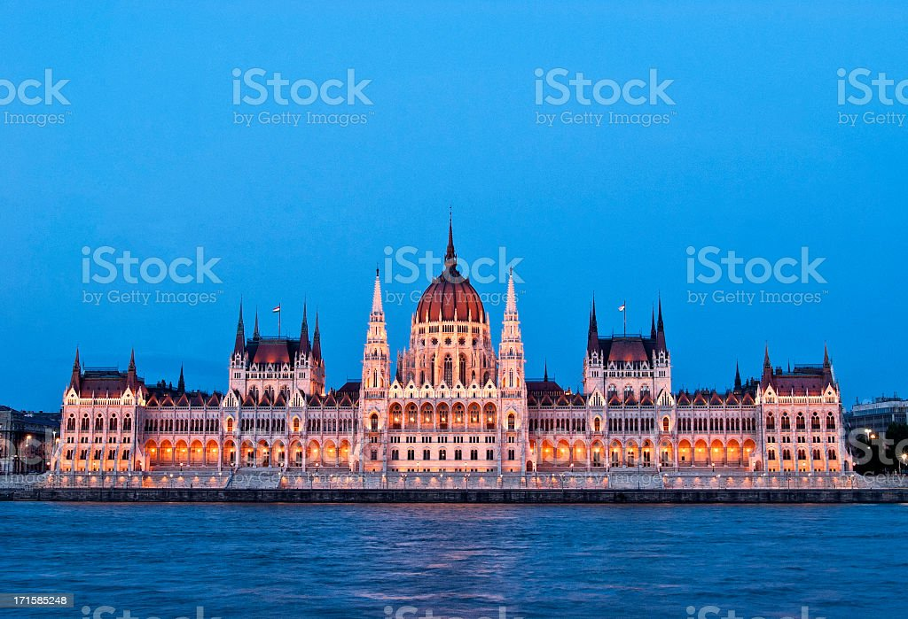 Hungarian parliament and Danube river stock photo