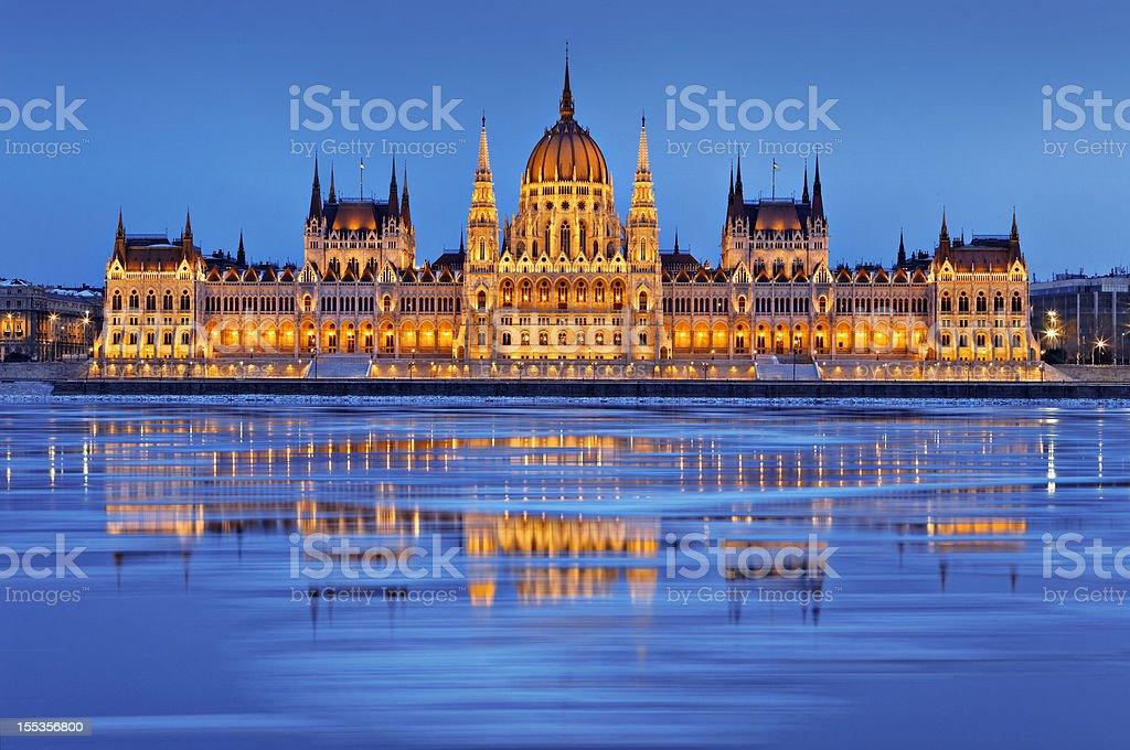 Hungarian parliament at dusk stock photo