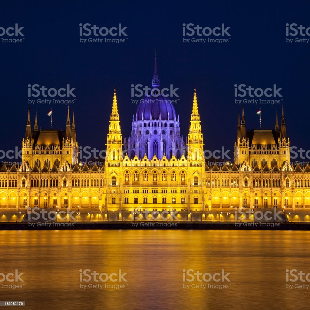Hungarian parliament at night - Budapest royalty-free stock photo