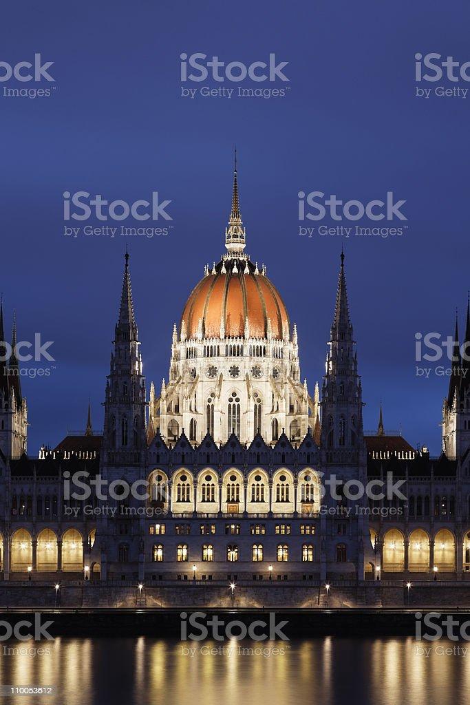 Hungarian Parliament at night stock photo