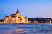 Hungarian landmarks,panorama of Budapest at night, Hungary