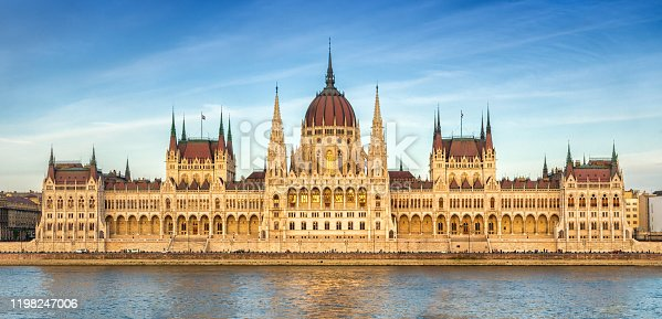 panoramic view of Hungarian Parliament at sunset, Budapest