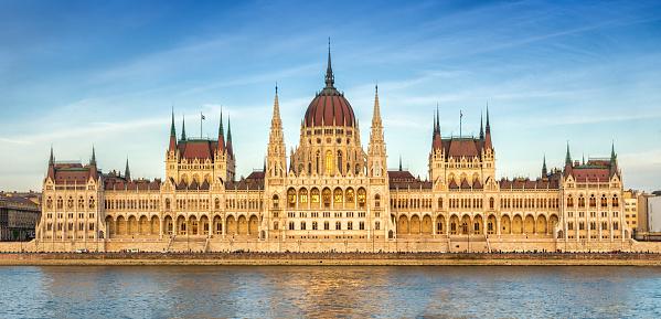 panoramic view of Hungarian Parliament at sunset, Budapest