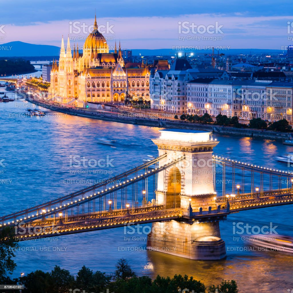 Hungarian parliament building and Chain bridge in Budapest stock photo