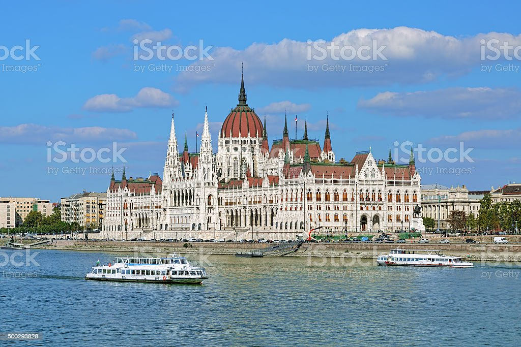 Hungarian Parliament Building and two sightseeing ships in Budapest stock photo