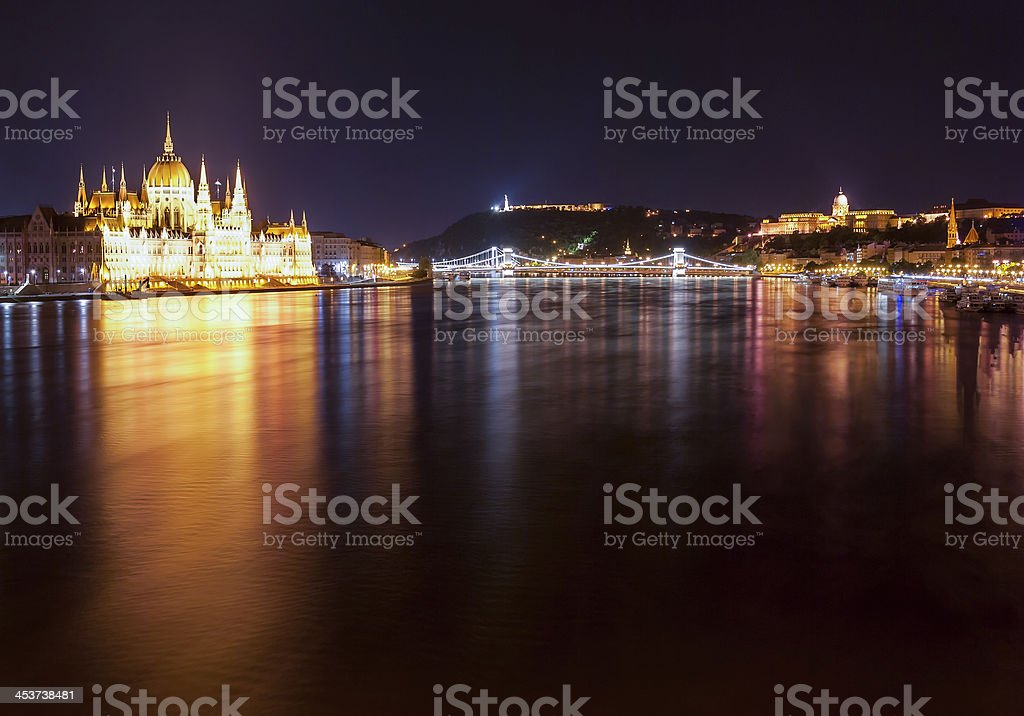 Hungarian Parliament Building as seen from Margit Hid at night stock photo