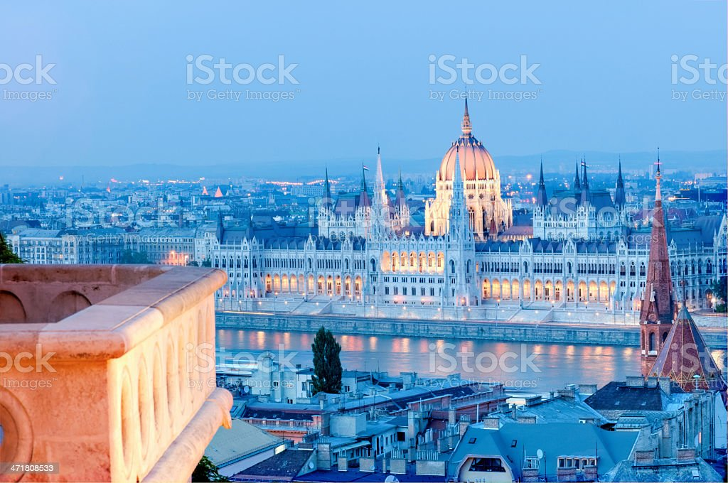 Hungarian Parliament Building by night royalty-free stock photo
