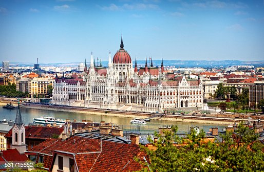 The Hungarian Parliament Building (Hungarian: Országház) on the bank of the Danube, Budapest. View from the Castle Hill.
