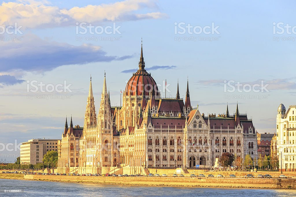 Hungarian Parliament Building in Budapest, World Heritage Site by UNESCO stock photo