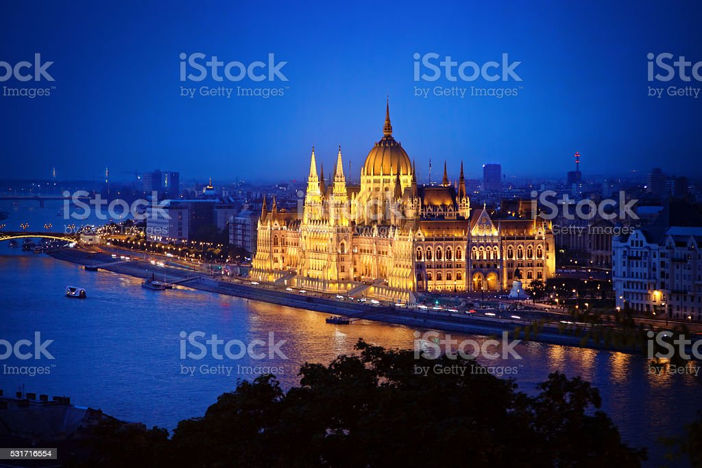 Hungarian Parliament Building - night view from the Castle Hill stock photo