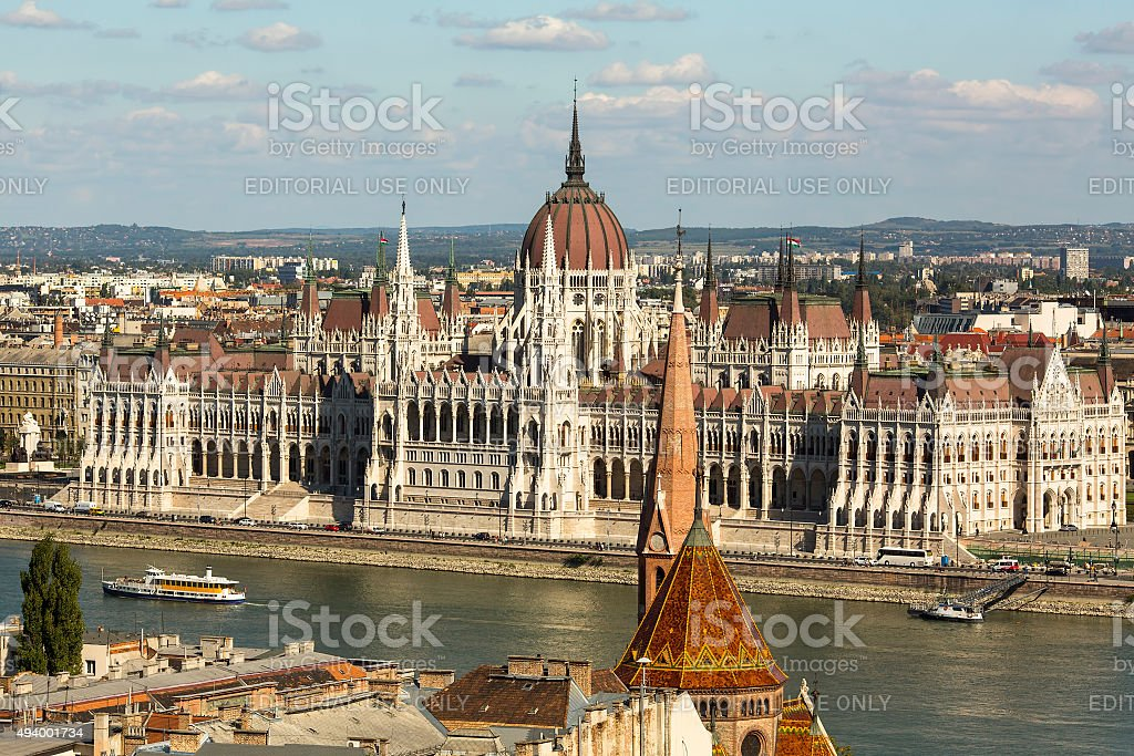 Hungarian Parliament Building on the bank of Danube in Budapest stock photo