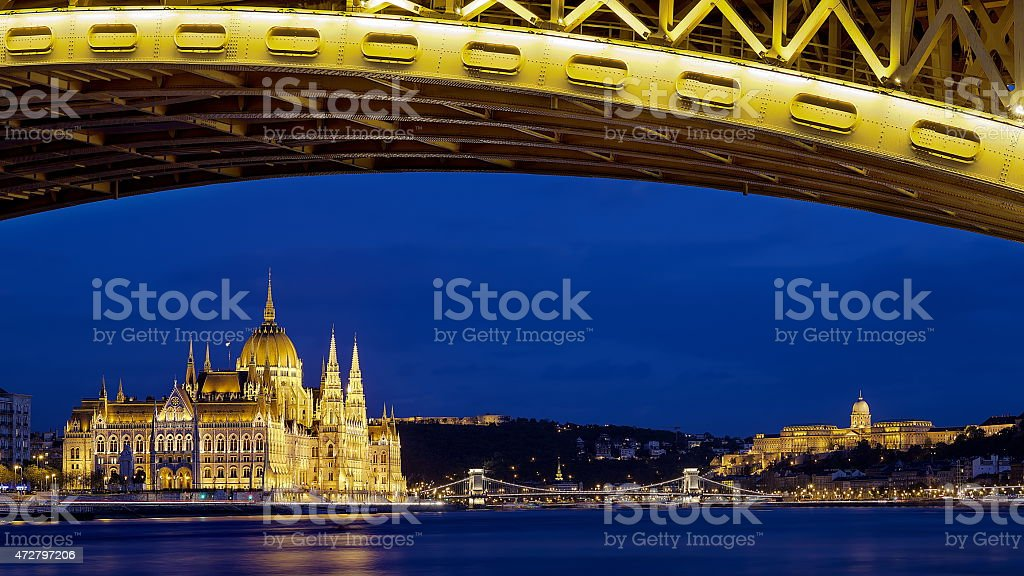 Hungarian Parliament, Chain Bridge and Buda Castle in Budapest, Hungary stock photo