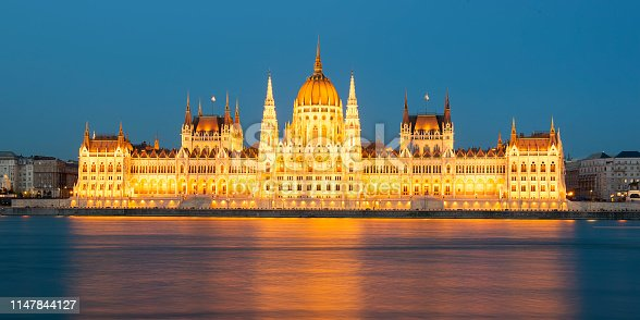 Hungarian parliament from riverside at Dusk in Budapest Panoramic View- Hungary
