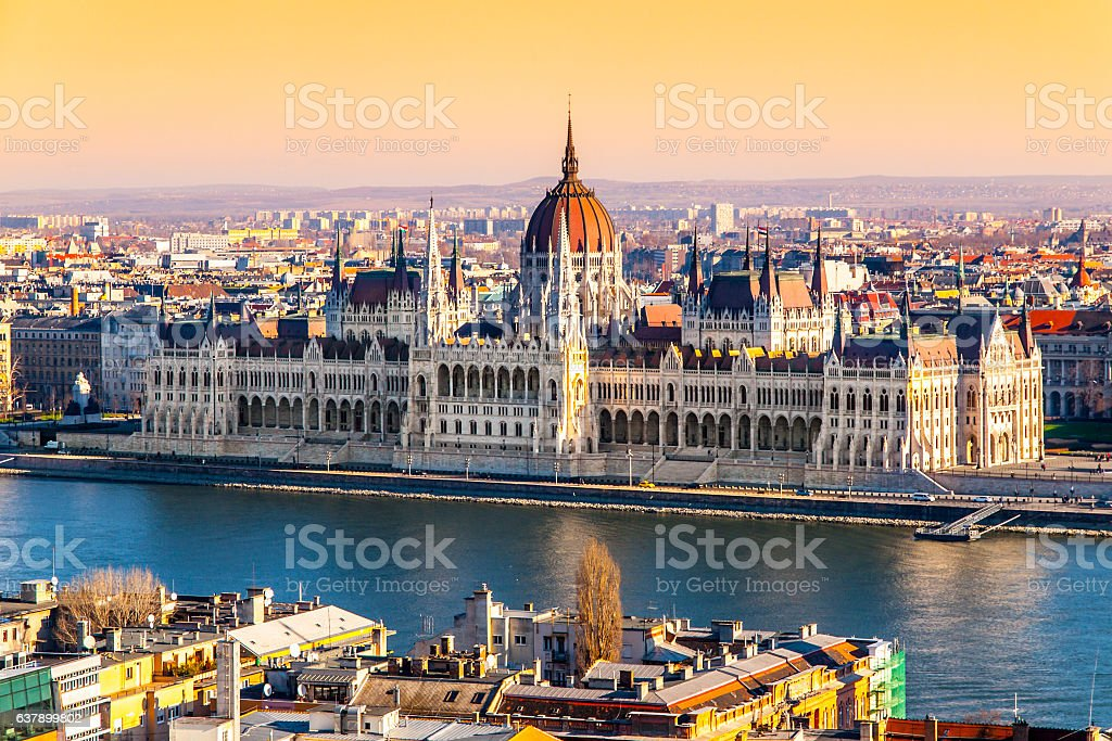Hungarian Parliament historical building on Danube riverbank in Budapest, Hungary stock photo