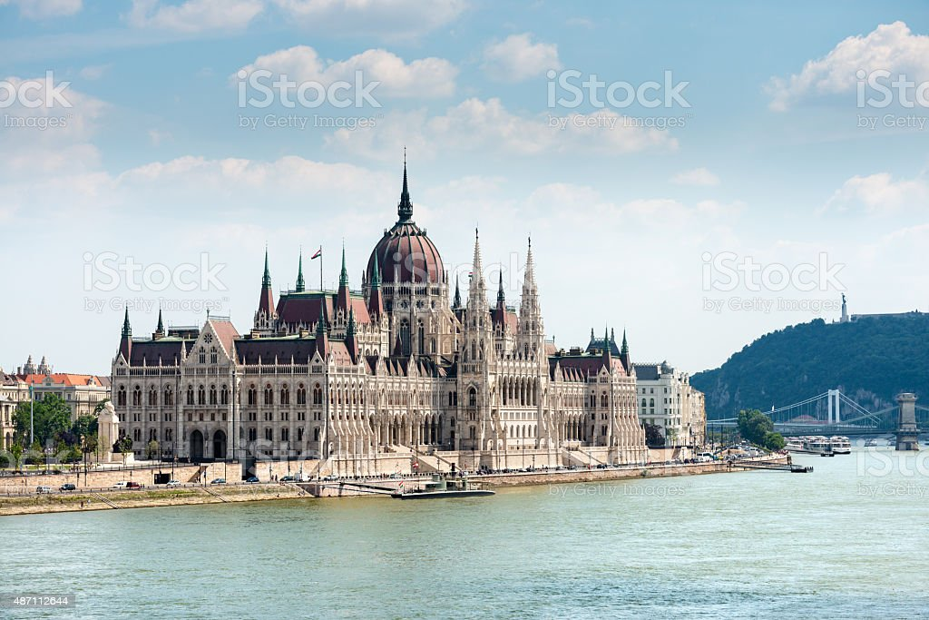 Hungarian Parliament in Budapest across the Danube stock photo