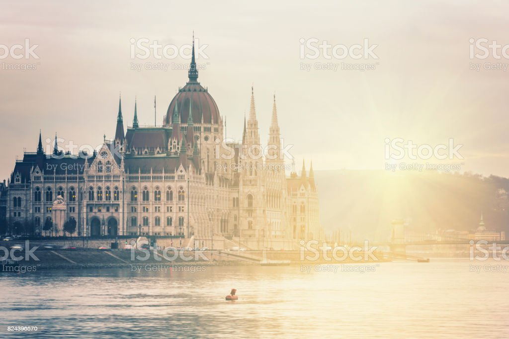 Hungarian Parliament in Budapest at sunset stock photo
