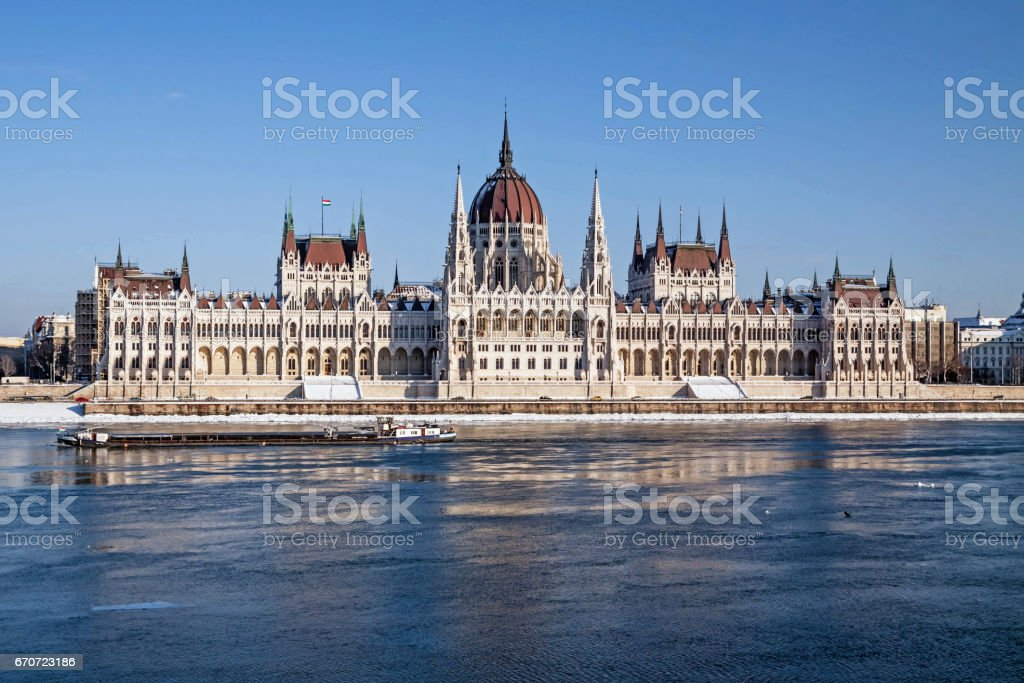 Hungarian parliament in Budapest stock photo