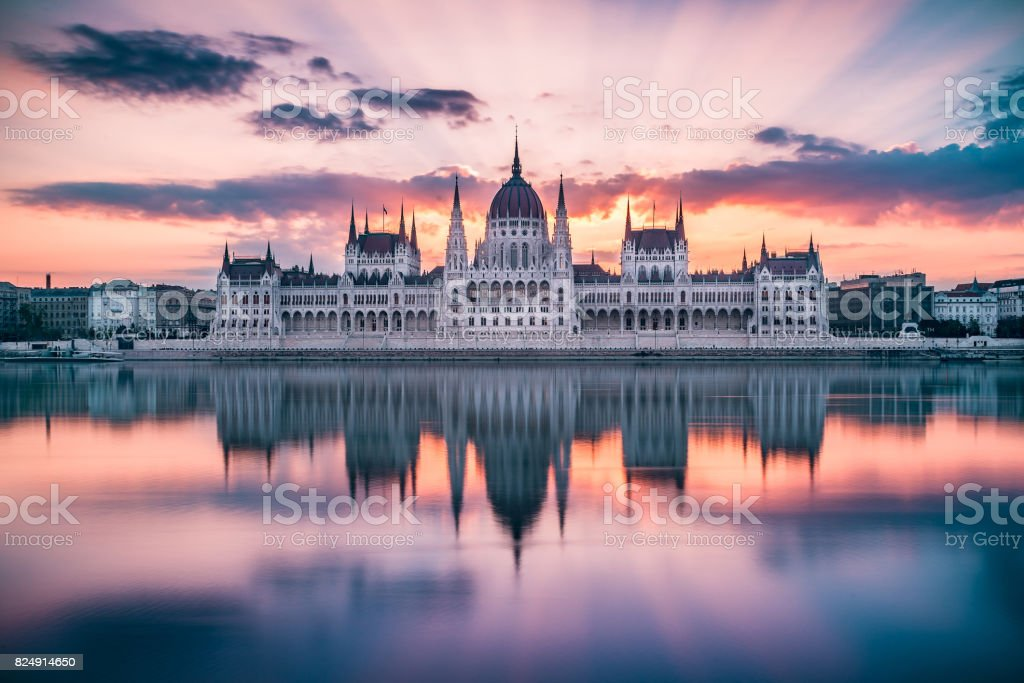 Hungarian Parliament - Sunrise stock photo