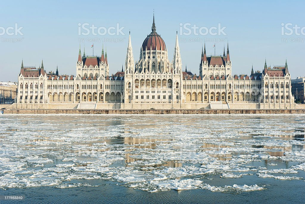 Hungarian parliament, winter stock photo