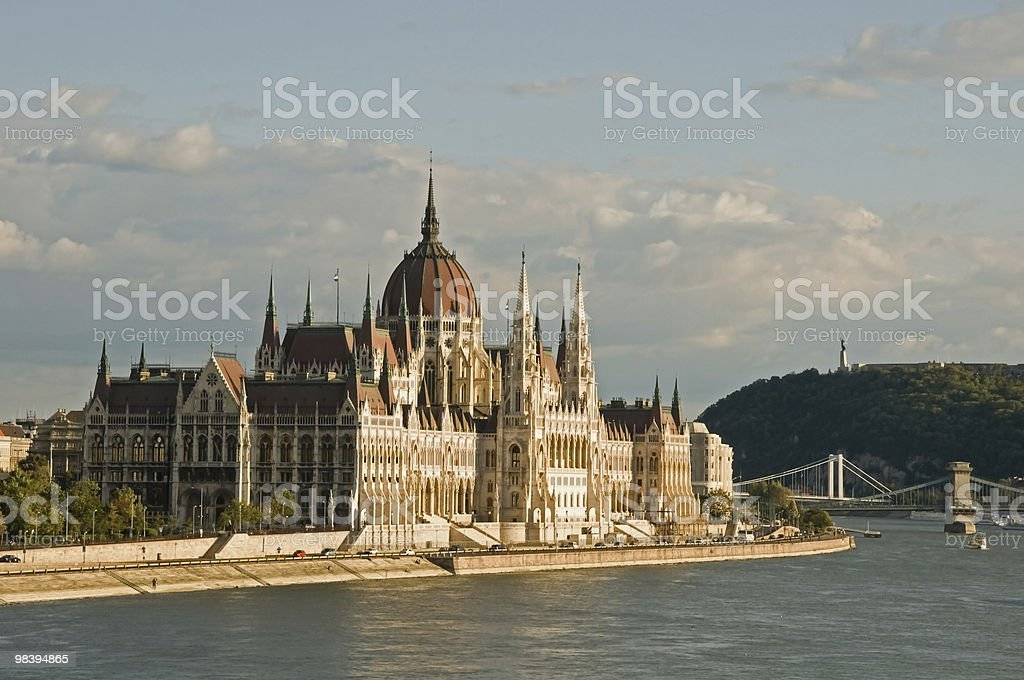 Hungarian Parliament with the bridges of Danube royalty-free stock photo