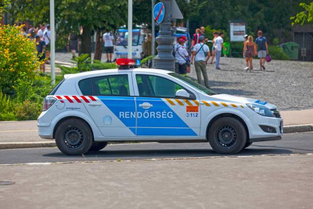 Hungarian police car stock photo