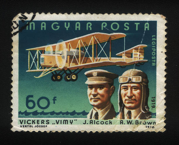 Hungarian Postage stamp, Vintage Plane Hungarian Postage stamp, Vintage Plane 1910 1919 stock pictures, royalty-free photos & images