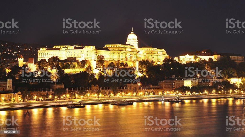 Hungarian Royal Palace at night royalty-free stock photo