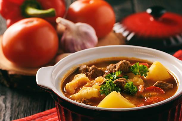 Hungarian soup goulash (bograch) with dumplings. stock photo