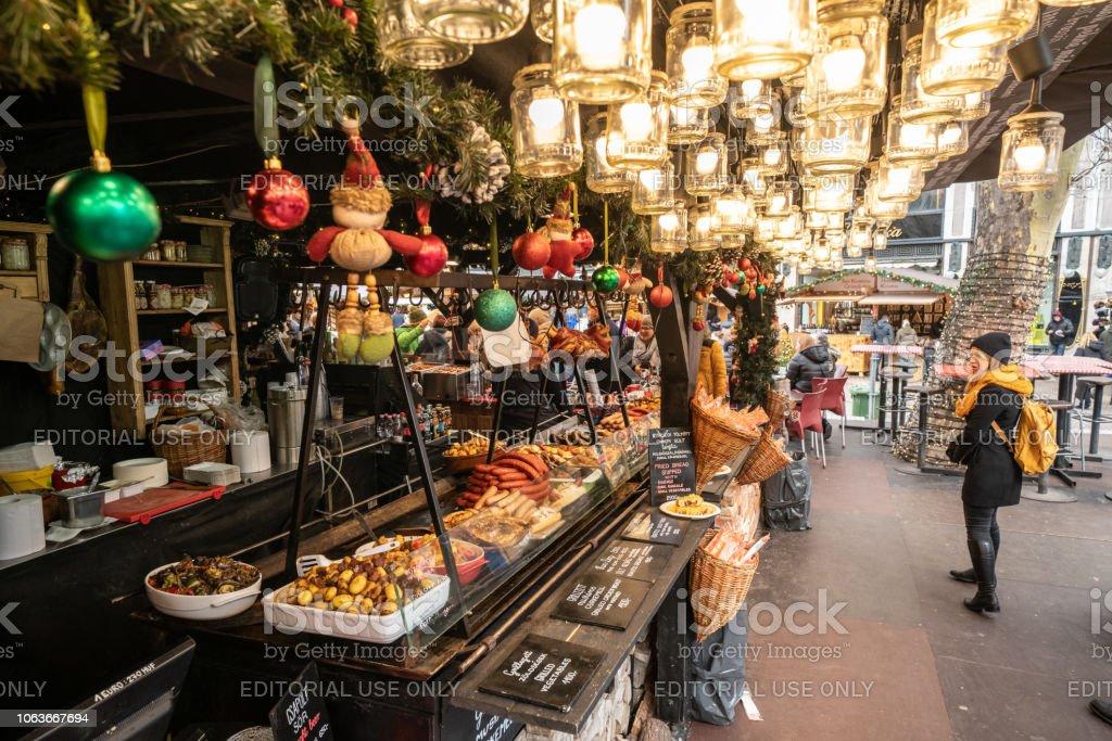 Vorosmarty Square Budapest Christmas Market.Hungarian Street Food At The Budapest Christmas Market In