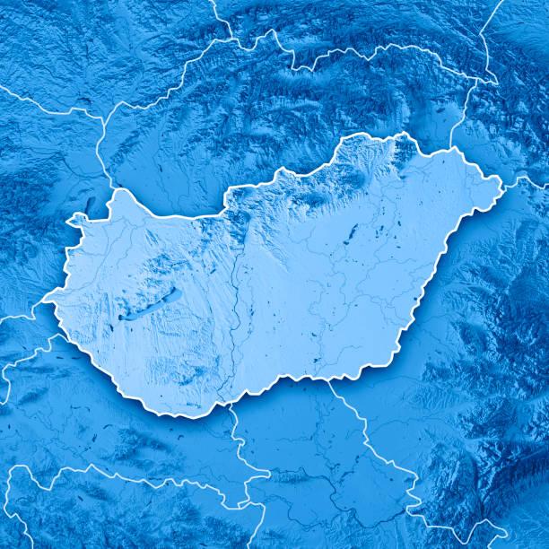carte topographique de hongrie pays rendu 3d bleu frontière - hongrie photos et images de collection