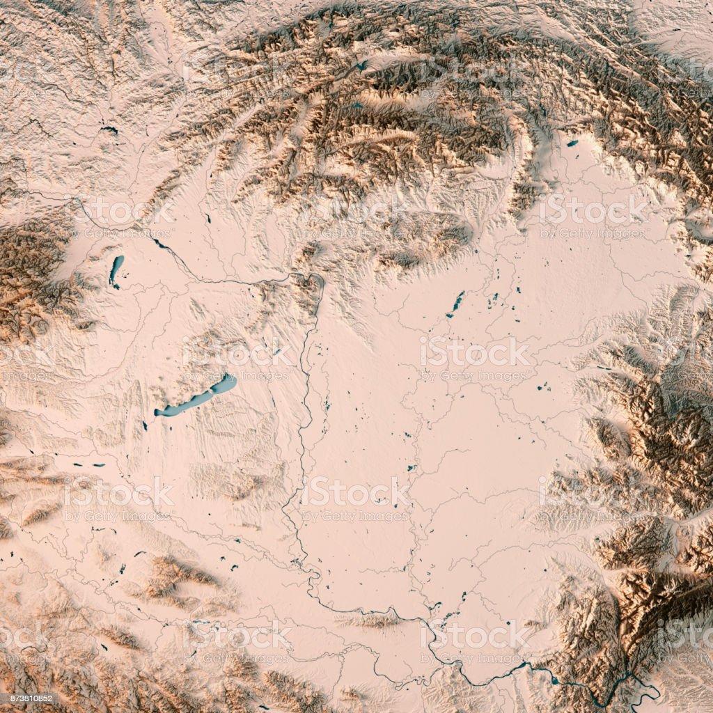 Topographische Karte Ungarn.Ungarn Land 3d Render Topographische Karte Neutral Stockfoto