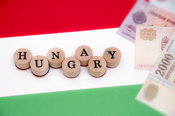 Hungary currency and flag stock photo