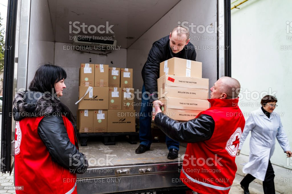 Hungary donated measles vaccine to the Transcarpathian region of Ukraine within the framework of humanitarian aid stock photo