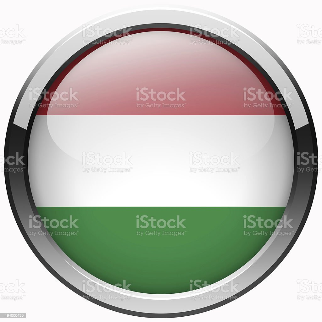 hungary flag gel metal button stock photo