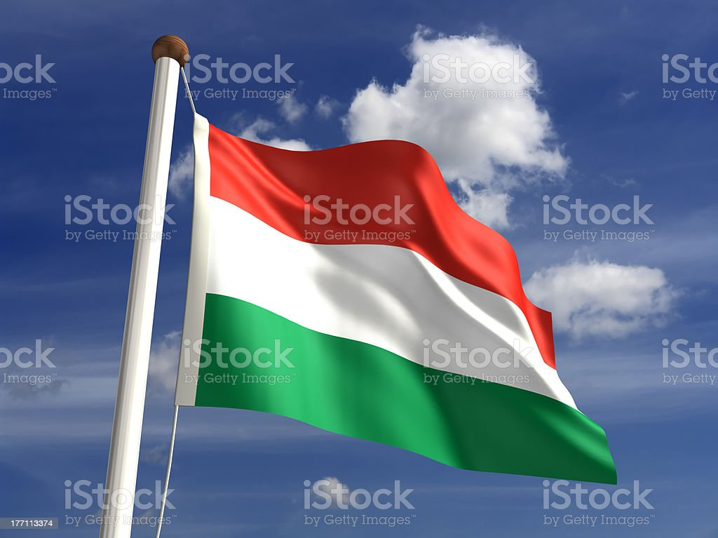 Hungary flag (with clipping path) stock photo