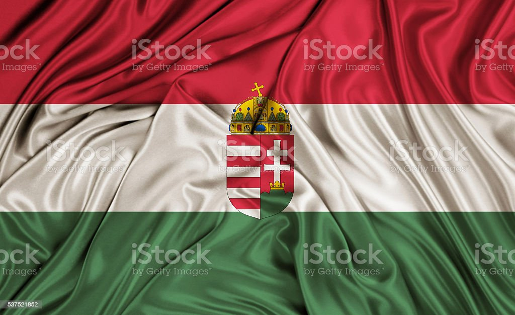 Hungary flag - silk texture stock photo