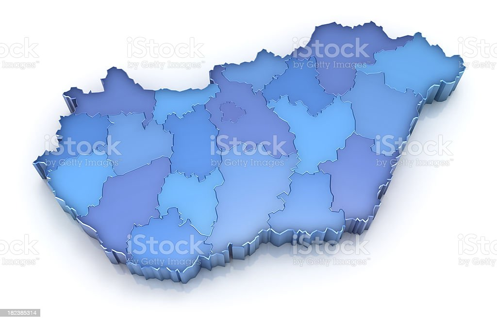 Hungary map with countries royalty-free stock photo