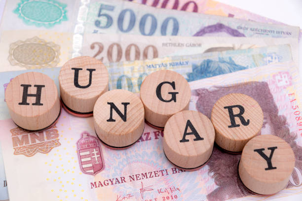 Hungary on local forint currency stock photo