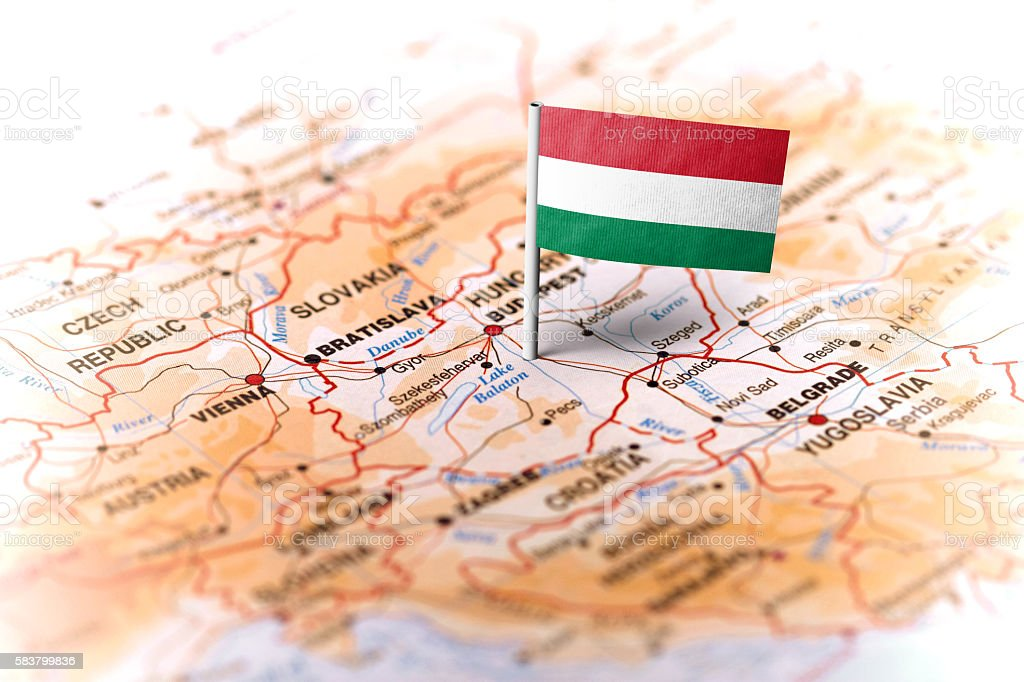 Hungary pinned on the map with flag stock photo