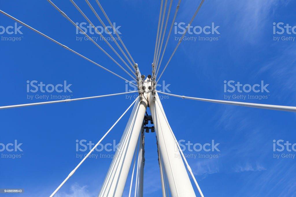 Hungerford Bridge and Golden Jubilee Bridges on Thames River, details of construction,  London, United Kingdom. stock photo