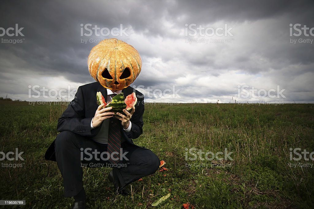 Hungry businessman stock photo
