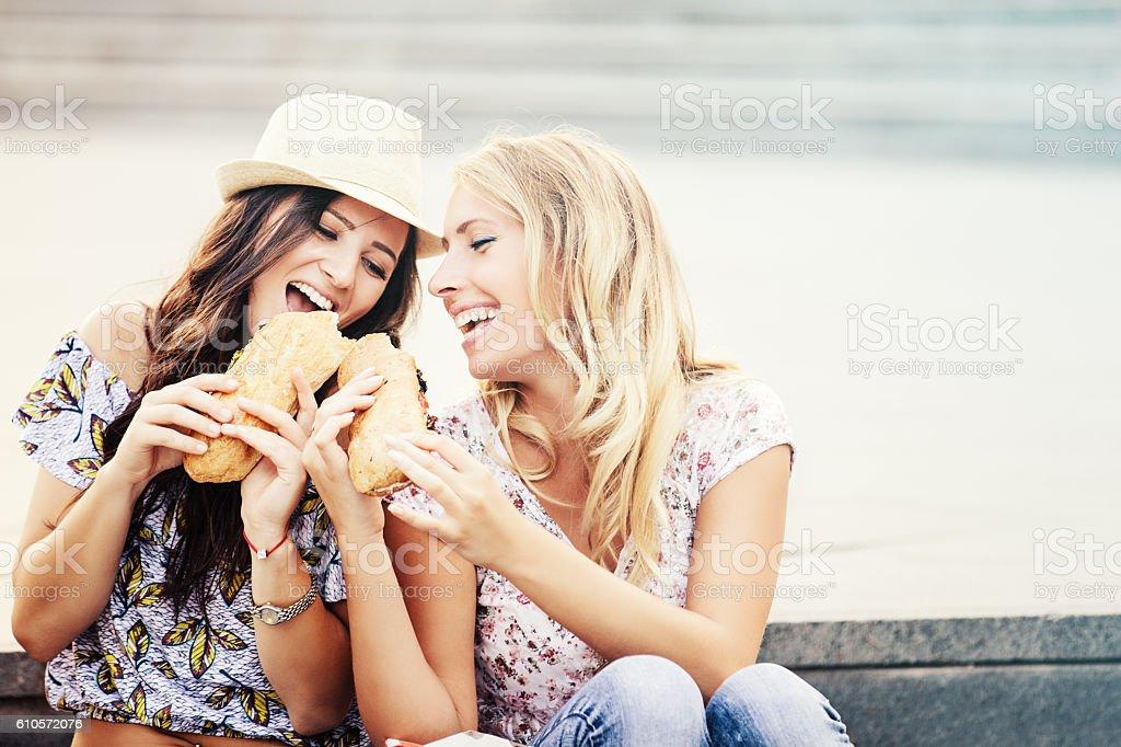 Hungry Girls stock photo