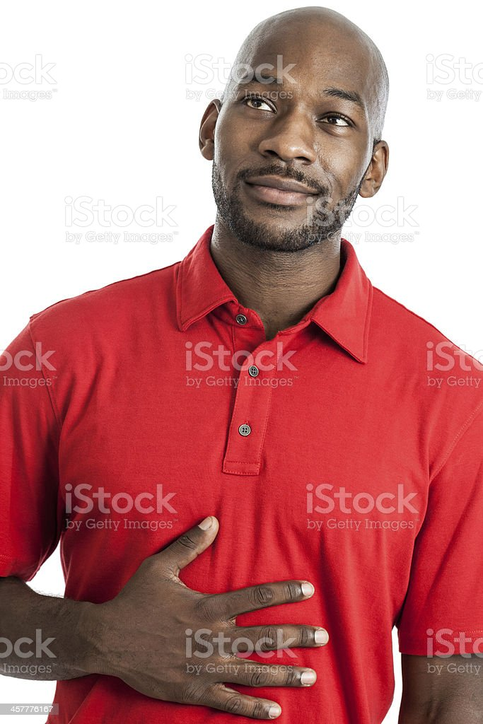 Hungry man daydreaming of food stock photo