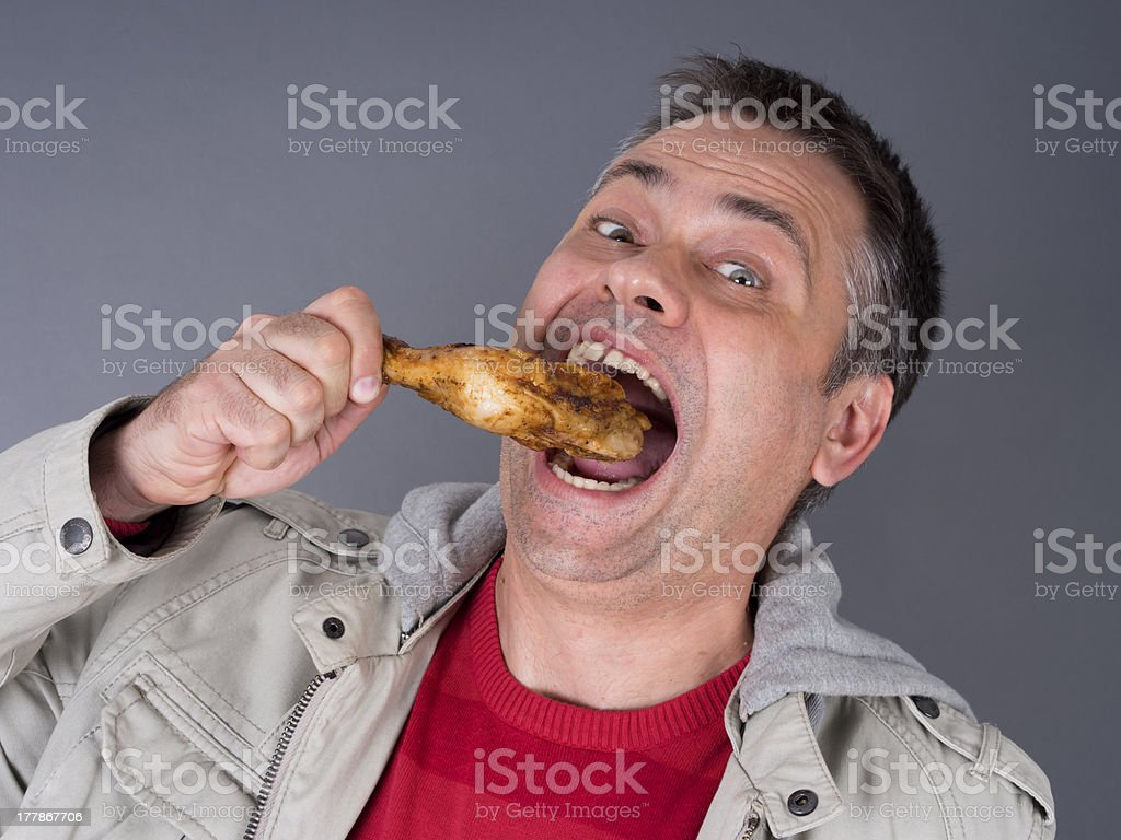 Hungry meat-eating man, no diet - Royalty-free Adult Stock Photo