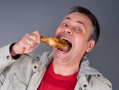 Hungry Meateating Man No Diet Stock Photo - Download Image Now