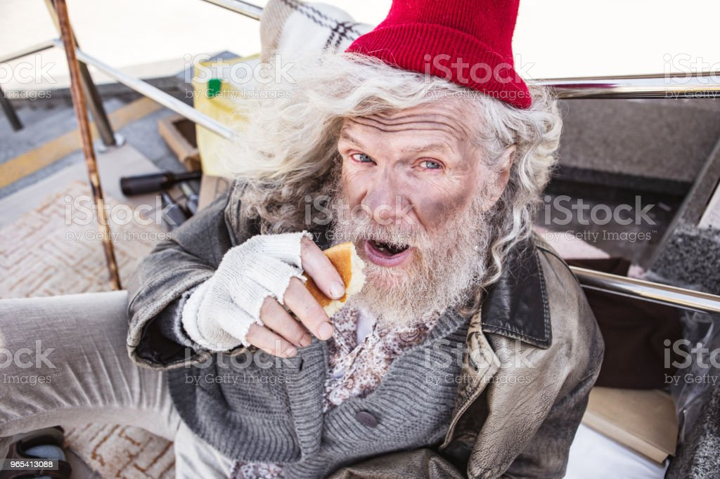 Hungry poor man opening his mouth zbiór zdjęć royalty-free